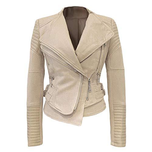 She'sModa Faux Suede Padded Shoulder Jacket for Wome Slim Fit Winter Coat Moto Biker Jackets M Beige
