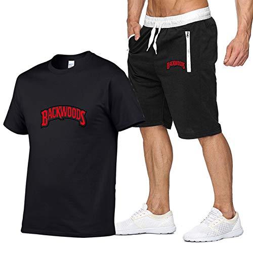 GIRLXV Camiseta Backwoods con Estampado De Letras para Hombre + Pantalón Corto con Bolsillo Traje para Hombre Camisa Hidratante Y Absorbente De Sudor XXL