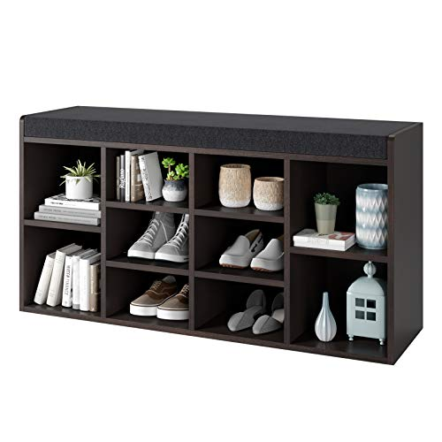 Homfa Shoe Bench with Cushion, 10-Cube Storage Bench Shoe Rack Padded Seat Adjustable Shelves, Simple Style for Entryway Living Room 40.75Lx11.81Wx21.06H inch, Brown