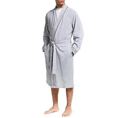 Kimono Bathrobe for Men Cotton Knee Length Summer Robe (Grey L/XL)