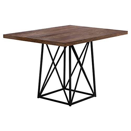 Monarch Specialties 1107 Dining Table Metal, 36' x 48', Brown Reclaimed Wood-Look/Black Base