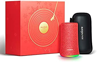 Bluetooth Speaker, Soundcore Flare Portable Wireless Speaker by Anker, 360° Sound and LED Ambient Light, IPX7 Waterproof & Long Playtime for Parties, Limited Edition with Travel Case - Red