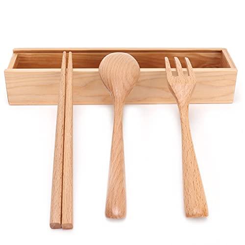 Juego de cubiertos de viaje para acampar, juego de utensilios de cubiertos de viaje, 4 unids/set, vajilla de madera portátil, utensilios de cocina con caja para restaurante