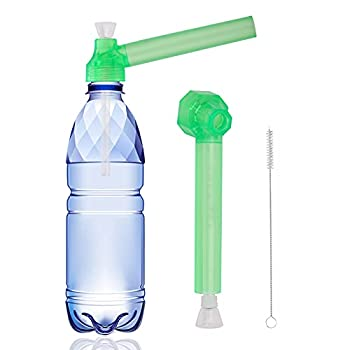 Portable Mini Water Hookah Straw Set On Bottle Converter with Straw Cleaning Brush 1 Pack(Green)
