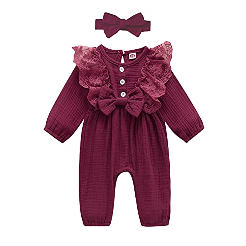 baskopa Baby Girls Linen Romper 6-12 Months Ruffle Long Sleeve Bodysuit Jumpsuit Infant Fall Outfits Clothes