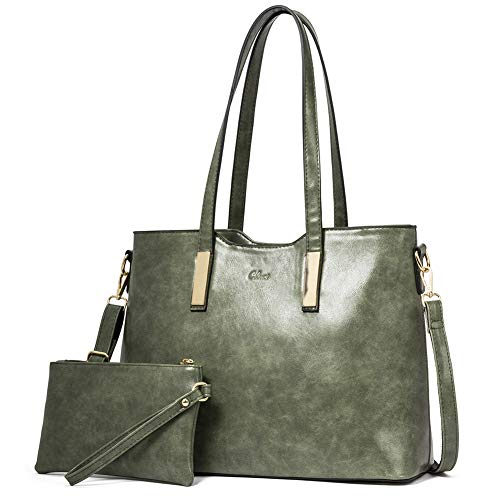 Purses and Handbags for Women Leather Designer Tote Large Fashion Ladies Shoulder Bags with Inner Pouch 2Pcs Set Green