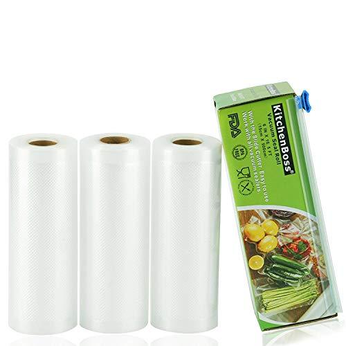 KitchenBoss Sacchetti Sottovuoto per Alimenti,3 rotoli 15x500cm Totale 15M, (Non più forbici) Rotoli Sacchetti goffrati,per Conservazione Alimenti e Cottura Sous Vide