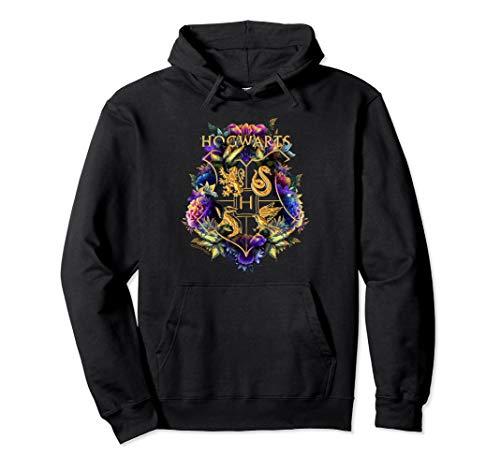 Harry Potter Hogwarts Multi-Colored Floral Crest Pullover Hoodie