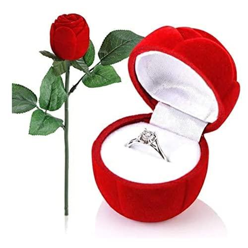 Suneech Caja para Anillo, Caja para Joyas, Caja para Joyas con Rosa Roja, Caja para Anillo de Rosa con Tallo Largo, Caja para Joyas en Forma de Rosa, Collar para Boda, San Valentín, Compromiso