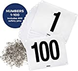 Clinch Star Running Bib Large Numbers with Safety Pins for Marathon Races and Events - Tyvek Tearproof and...
