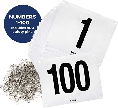 Clinch Star Running Bib Large Numbers with Safety Pins for Marathon Races and Events - Tyvek Tearproof and Waterproof 6 X 7.5 Inches (Numbers 1-100)