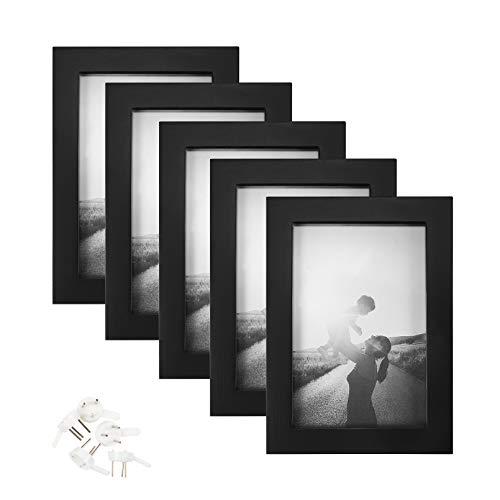 Yoofoss Marcos de Fotos 5 Set 10x15cm portafotos in Estructura de madera Collage de Fotos galería de imágenes Montable en la Pared Adecuado (negro)