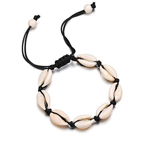 fuyo Handmade Sea Shell Bracelet, Size Adjustable for Women Beach Jewelry (Black)