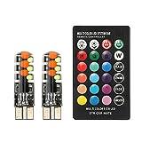 ZXB GQLONG Nuevo automóvil LED W5W T10 RGB COB 12SMD Luces de liquidación Coloridas Modos Modos Light Bulbs con EL Controlador Remoto (Emitting Color : One Set RGB)