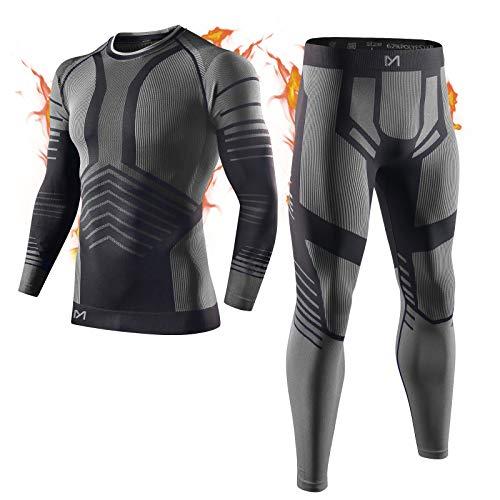 MEETYOO Biancheria Intima Termica Uomo, Intimo Termico Invernale Maglia Termici Pantaloni Base Layer per Sci Corsa Ciclismo