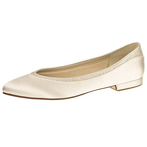 Elsa Coloured Shoes Rainbow Club Brautschuhe Stevie - Ballerina, Ivory / Creme, Satin - Hochzeitsschuhe, Flach, Bequem, Blockabsatz, Glitzer, Damen, Größe 40 ( UK 7)