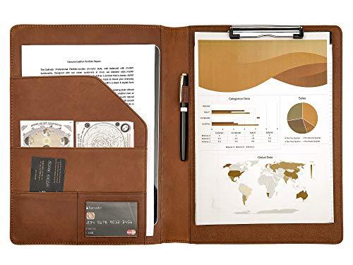 Calfinder A4 Schreibmappe Mappe mit Klemmbrett - Braun Leder Dokumentenmappe Klemmbrettmappe, Geschäfts Präsentations ordner für Männer und Frauen