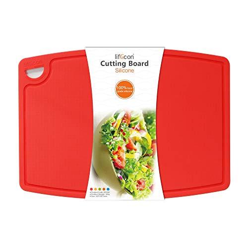 liflicon Tabla de cortar de silicona ecológica, antibacteriana, hipoalergénica, de alta calidad, sin BPA, con ranura antisuciedad, certificado LFGB y FDA (roja, L)