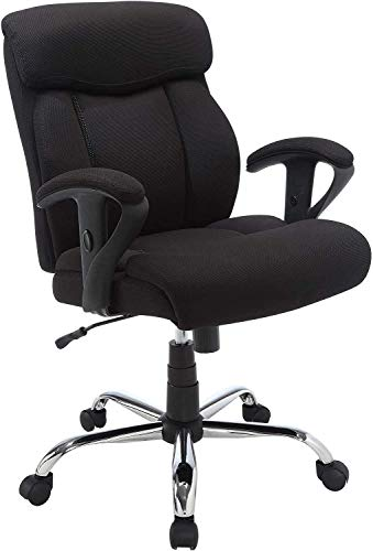 Rolling Swivel Chair Adjustable Computer Chair with Lumbar Support, High Big and Tall Fabric Office Chair, Ergonomic PU Desk Task Executive Chair Headrest Chair Tall Office Chair