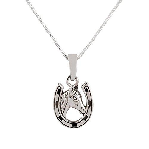SL-Silver Juego de cadena y colgante de herradura con caballo, plata de ley 925, en caja de regalo