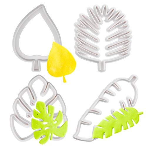 Jinlaili 4 Stück Blätter Ausstechformen Set, Tropische Blatt Keksformen von Verschiedenen Forme, Kunststoff Kuchen Dekorationsform für DIY Keks Fondant Cupcake, Weiß