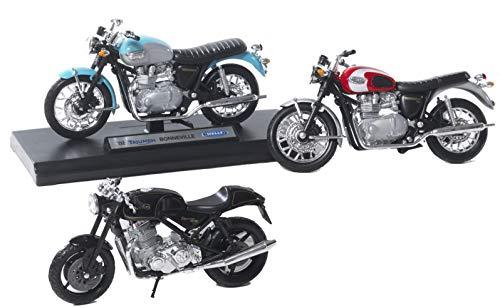 PABEN 3 Pezzi modellino Motocicletta in Scala 1:18, Due Triumph Bonneville T100, Una Norton Commando 961 da Collezione e bomboniera