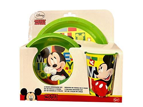 TrendyMaker Mickey Mouse - Juego de vajilla (plato de 21 cm, cuenco de 16 cm, vaso de 260 ml)