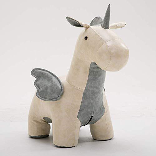 YLCJ optische smaak kunstleer kleine kruk bank voetensteun kruk, pony decoratie meubels afneembaar praktische reiniging-goud 80x75x40cm (31x30x16inch) 80x75x40cm(31x30x16inch) wit