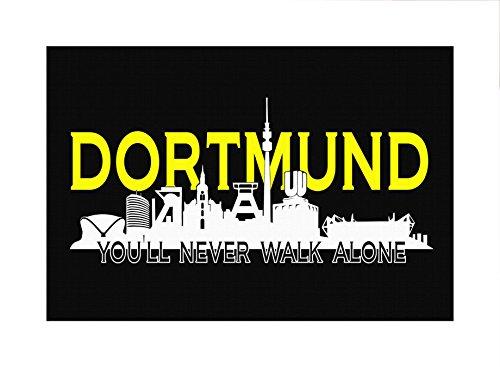 Uglyshirt89 Dortmund Skyline Premium Leinwand   Keilrahmen Bild Gemälde Wandbild (60 x 40 cm)
