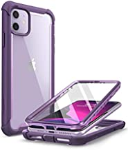 i-Blason Ares Case for iPhone 11 6.1 inch (2019 Release), Dual Layer Rugged Clear Bumper Case with Built-in Screen Protector (Purple)