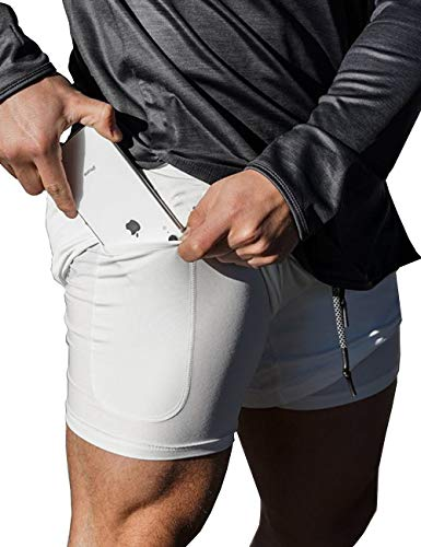 AJAYR Mens 2 in 1 Running Shorts with Back Zipper Pocket Gym Shorts White S