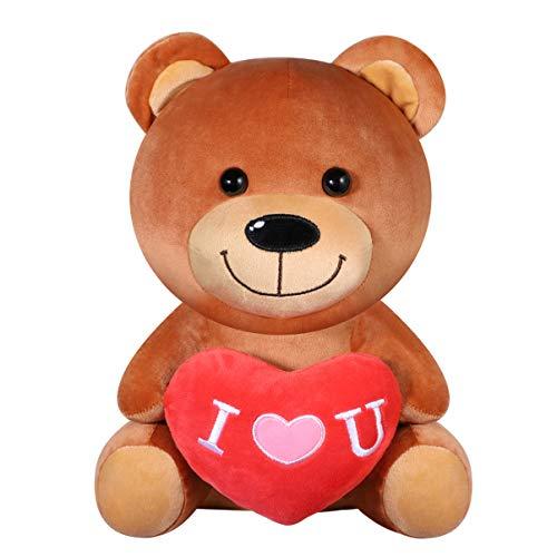 Toyvian Oso de Peluche con corazón Rojo Te Amo Regalo para Niñas y Mujer Cumpleaños Día de La Madre Día de San Valentín Navidad 28 cm - Marrón