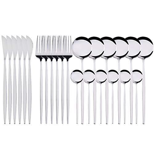 24pcs Set de vajilla de acero inoxidable Conjunto de tenedor Cuchara de cuchara Juego de cuchillos de oro Cubiertos ECO Friendly Cocina Vajilla Vajilla Conjunto (Color : Silver)