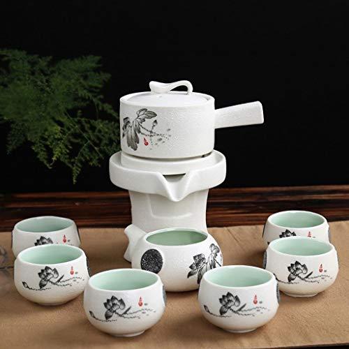 Tavolo da tè Imposta Teiera, Tea Set a Mano Cinese, teiera della Porcellana, Neve Smalto Mulino Automatico Kung Fu Tea Set, tè Automatico dissalatore Rotazione (Color : B)