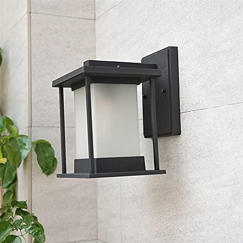 YBright Lámparas de pared exterior de la linterna de la linterna de la linterna de la pared de la pared del al aire libre negro Luces de la pared exterior de la vendimia con la sombra de cristal escar
