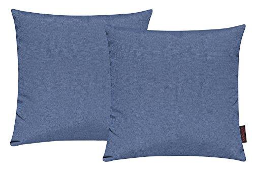 Fino Kissenhülle ca. 40 x 40 cm hochwertig & knitterarm Farbe 10 Blau (2er Set)