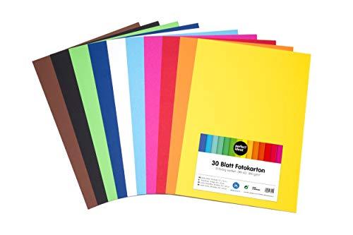 perfect ideaz cartulina cuché A3 de colores 30 hojas, cartulina, de color, en 10 colores diferentes, grosor de 300g/m²,...