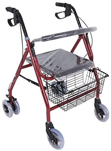 Rollator Walker Mobility Walking Aid para adultos mayores con 4 ruedas, marco plegable, caminante para ancianos, ayuda para caminar, altura ajustable, cesta y asiento acolchado (color predeterminado)