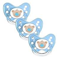 Dentistar® Silikon Schnuller 3er Set - Beruhigungssauger, Nuckel Größe 1 von Geburt an, 0-6 Monate - zahnfreundlich & kiefergerecht - Blau Bär
