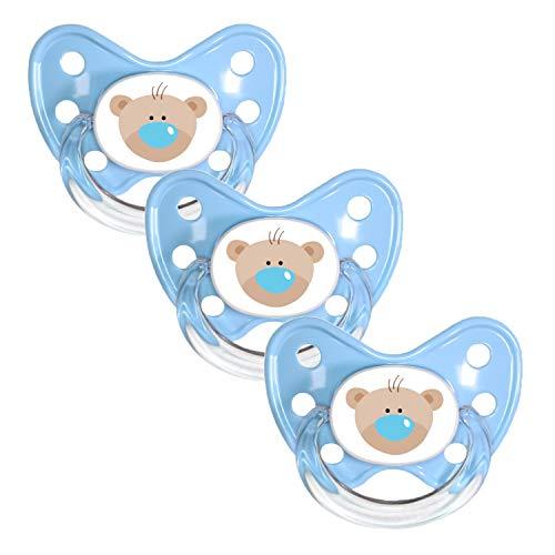 Dentistar Silikon Schnuller im 3er-Set – Größe 1 0-6 Monate – Zahnfreundlicher und kiefergerechter Silikonschnuller mit Dental-Stufe – Blau mit Bären-Motiv – BPA-frei – Made in Germany