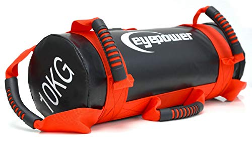 EYEPOWER 2,5-10kg Power Bag de Musculation 17x45cm Sac de Sable Sandbag Rouge