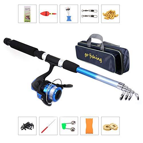 pegtopone - Caña de pescar infantil, telescópica portátil y ligera + combinaciones de carretes para principiantes; kit de pesca perfecto para niños