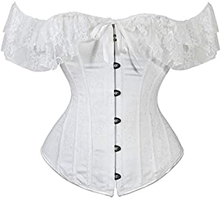 SYMG One-shoulder Lace Silk Gauze Short-sleeved Corset, Women's Short-sleeved Corset, Lace-up Dress Base, Abdomen Body, Can Be Worn with Skirt shapewear women (Size : L)