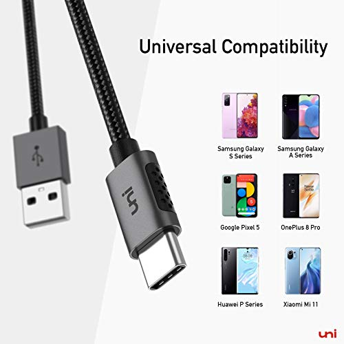 USB C Ladekabel, uni Nylon USB C Kabel auf USB , kompatibel mit Galaxy S20 S10,Note 20 10 9 8,HTC 10 U11,Sony Xperia, Huawei P40 usw - 3m