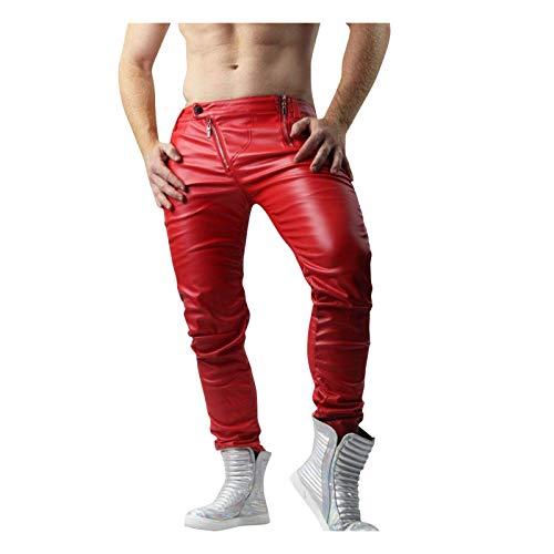 NEEKY Herren Lange Hosen Lederhose PU wasserdichte Lederhose Weich und Atmungsaktiv Slim Fit Lederjeans Rockerhose Western Lederhose