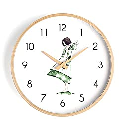 Wall Clock 12 inch cute girl Nordic modern minimalist fashion mute wooden frame wooden Battery-powered mute simple home living room