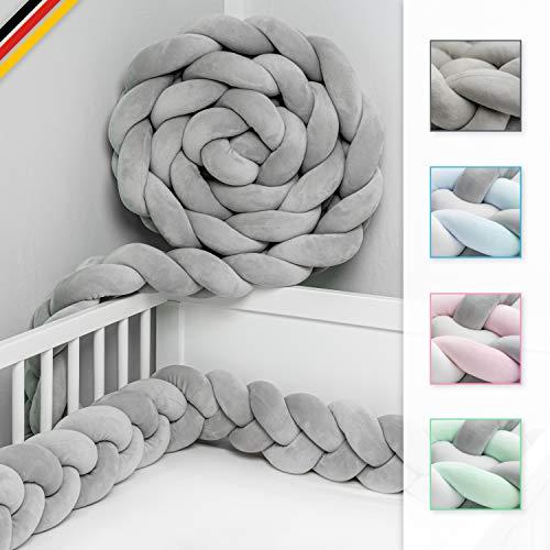 JAKOR® Bettschlange geflochten 3M - geprüfte Laborqualität - Bettumrandung geflochten inkl. Wäschenetz - Babybettumrandung - Bettumrandung Babybett – Bettschlange 300 cm (Grau)