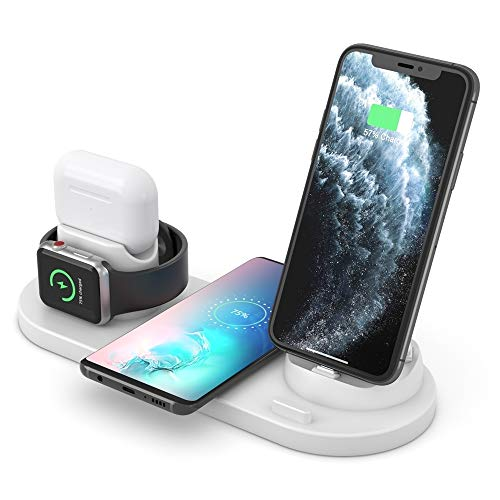 ZUEN Upgraded 4 in 1 Wireless Charger For iPhone, Apple Watch, AirPods and Other Android Phones (Color : White)