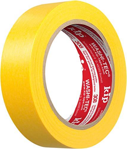 kip Tape 308-30 Washi-Tec – Dünnes Abdeckband aus Spezial-Washi-Papier für extrem scharfe Farbkanten – Malerkrepp zum Streichen & Lackieren – 30mm x 50m gelb