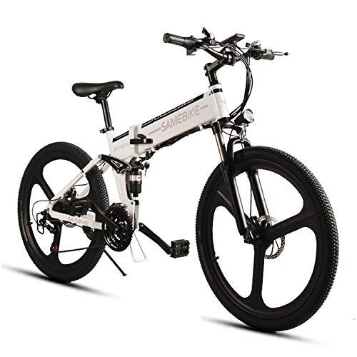 SAMEBIKE Elektrofahrrad Mountainbike 26 Zoll E-Bike Elektrisches Fahrrad Falträder 350W 48V Abnehmbare Akku Elektro-Mountainbike für Erwachsene (Weiß)